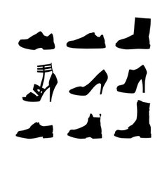 nine shoes silhouettes vector image