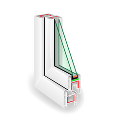 Plastic window frame profile two transparent vector
