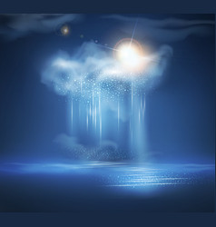 sea night landscape with thunderstorm and light vector image vector image