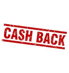 Square grunge red cash back stamp vector