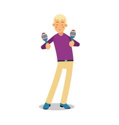 Teenage boy playing on maracas concert cartoon vector