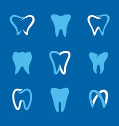 Teeth logo blue vector