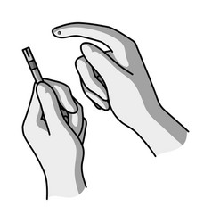 test for quick measurement of blood sugar on a vector image