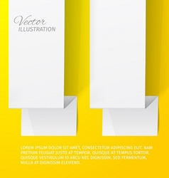 Two white sheets of paper on a yellow background vector image