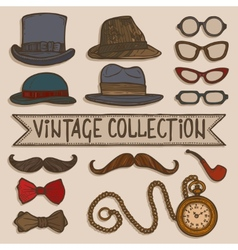 Vintage hats and glasses set vector image vector image