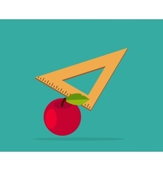 Red Apple with Yellow Measuring Ruler vector image