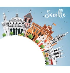 Seville skyline with color buildings blue sky vector