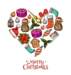 Christmas heart with xmas sketches poster design vector