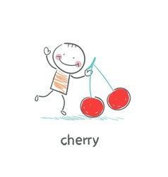Man and cherry vector