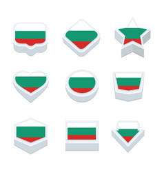 Bulgaria flags icons and button set nine styles vector