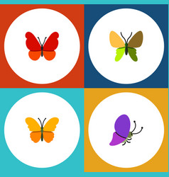 Flat moth set of monarch butterfly summer insect vector