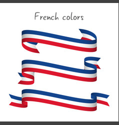 set of three ribbons with the french tricolor vector image
