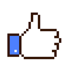 Thumb up pixel art cartoon retro game style vector