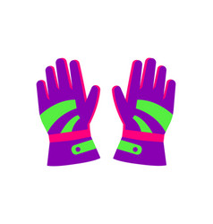 Flat style pair of skiing snowboarding gloves vector