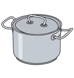 Stainless steel pot vector