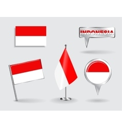 Set of indonesian pin icon and map pointer flags vector