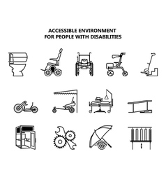 Set of icons on accessible environment for people vector