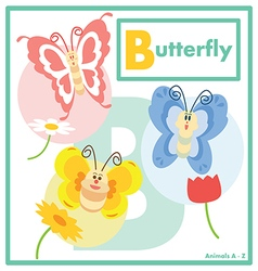 Butterfly with friends english a to z vector