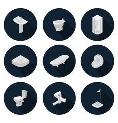 Isometric flat icons sanitary ware vector