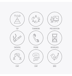 Teamwork presentation and phone call icons vector