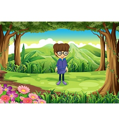 A smart girl at the forest vector image vector image