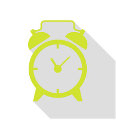 Alarm clock sign pear icon with flat style shadow vector
