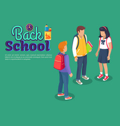 back to school poster with teenage students talk vector image