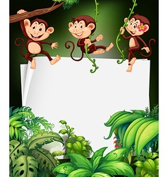 Border design with monkey on the tree vector image vector image