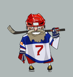 cartoon comical bearded hockey player with hockey vector image