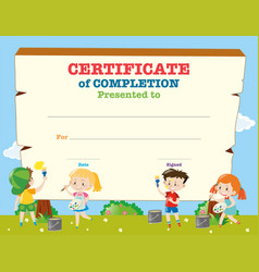 Colorful kids summer camp diploma certificate vector image certificate template with happy children vector image yadclub Choice Image