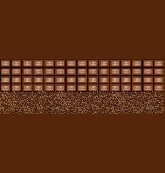 Chocolate pieces coffee beans background vector