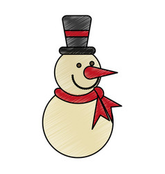 Colorful crayon silhouette of snowman with scarf vector