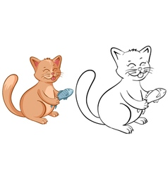 Coloring book page for kids with funny cartoon cat vector