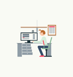 creative office workspace of blogger with elements vector image vector image