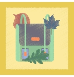 flat shading style icon school bag leaves vector image