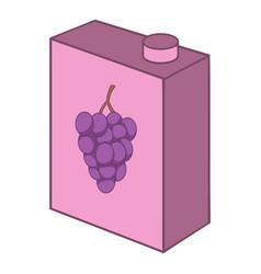 Grape juice drink carton box icon cartoon style vector