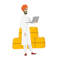 Hindu farmer using laptop vector