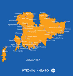 Island of mykonos in greece orange map and blue vector