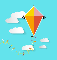 Kite on blue sky with clouds vector