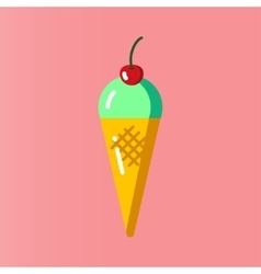 Mint ice cream in a cone vector