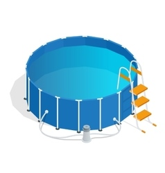 Portable plastic swimming pool isometric 3d vector