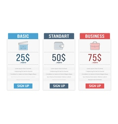 Pricing Table vector image