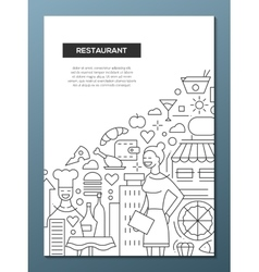 Restaurant - line design brochure poster template vector image vector image