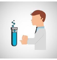 Scientist worker research test tube laboratory vector