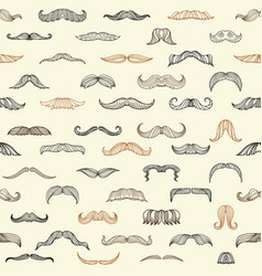 seamless set with mustache of men vector image