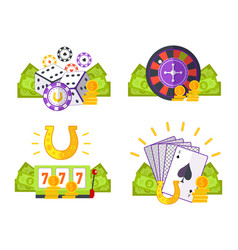 set of gambling conceptual vector image