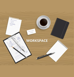 top view of desk background vector image vector image