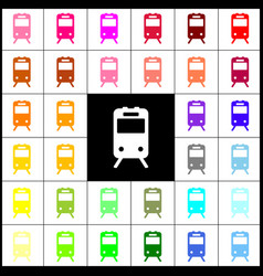 Train sign felt-pen 33 colorful icons at vector