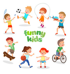 Uniformed happy kids playing sports active vector