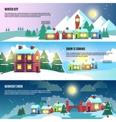 Urban city cityscape winter banners set vector image vector image